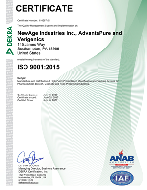 AdvantaPure Announces Its ISO 9001:2015 Certification