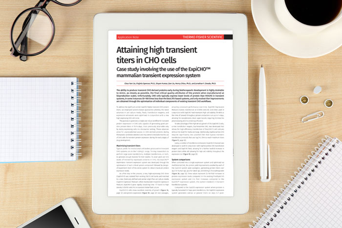 Application note: Attaining high transient titers in CHO cells