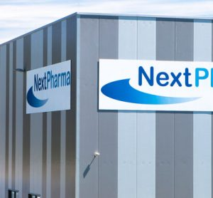 NextPharma logo on warehouse