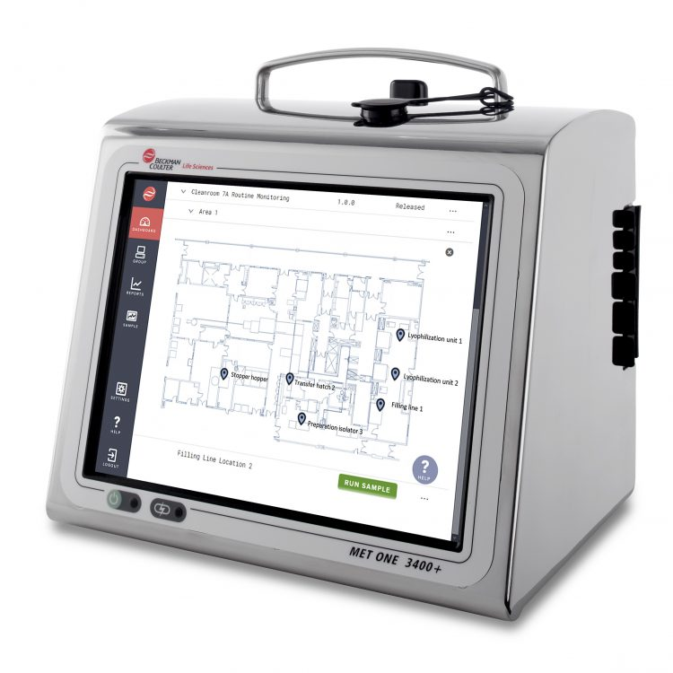 MET ONE 3400+ instrument showing map of locations for air particle monitoring. The new MET ONE 3400+ portable air particle counter is now available to help GMP cleanroom users simplify their routine environmental monitoring and improve data integrity.