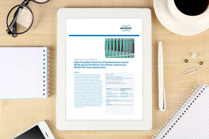 Application note: High-throughput Screening of Deubiquitylase enzyme (DUB) activity/specificity and inhibitor screening by MALDI-TOF mass spectrometry