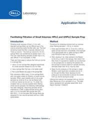 Whitepaper: Facilitating filtration of small volumes