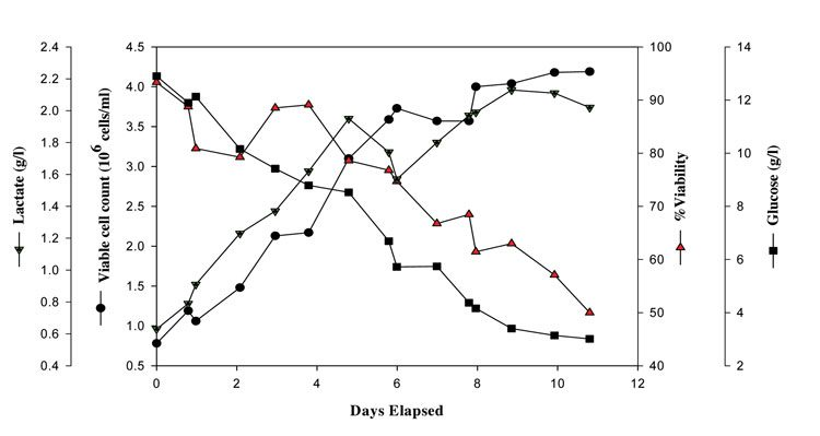 Figure 2: VCC, %viability, glucose and lactate vs. days elapsed in a typical Chinese Hamster Ovary (CHO) cell culture production process grown in generic propriety complex animal component free production media