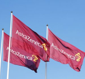 AstraZeneca logo on flags