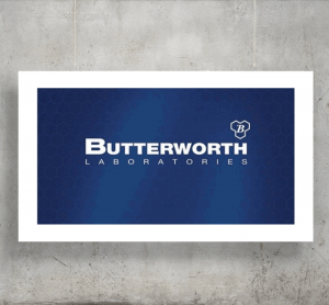 Butterworth Laboratories logo with background