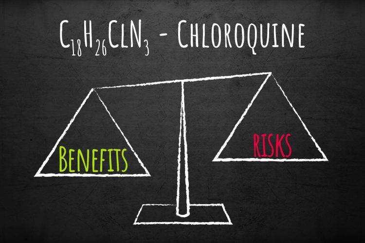 drawing of a scales balancing 'risks' and 'benefits' under the word 'CHLOROQUINE' on a black board