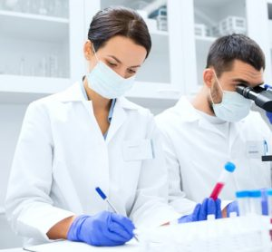 Scientists doing clinical research