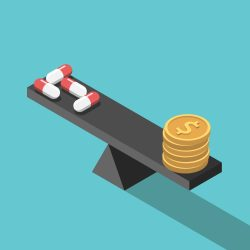 scales balancing drugs at one end and US currency at the other