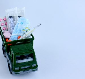 toy truck loaded with tablets