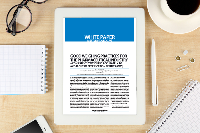 Whitepaper: Good weighing practices for the pharmaceutical industry