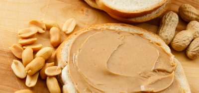 peanuts, peanut butter on bread and monkey nuts laid out as examples of peanut allergens