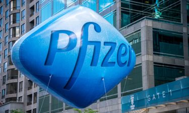 Pfizer logo on balloon
