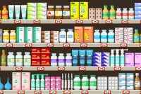 cartoon of various types of pharmaceuticals on pharmacy shelves