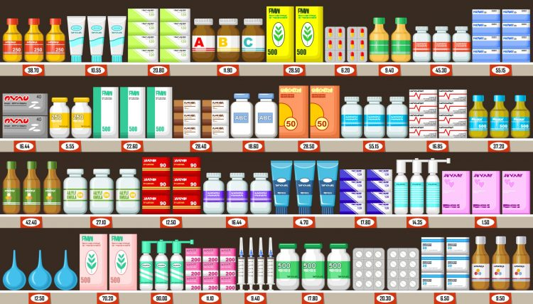 cartoon of various types of pharmaceuticals on pharmacy shelves