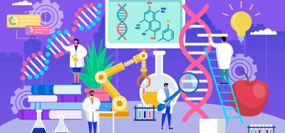 cartoon of DNA or gene therapy research