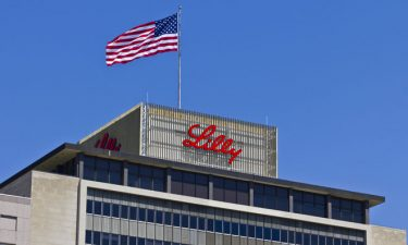 Eli Lilly logo on top of office building
