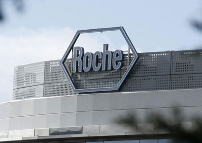 Roche logo on side of office building