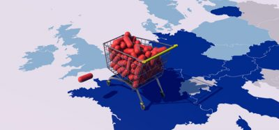 Brexit concept: pills in trolley on map of Europe facing the UK