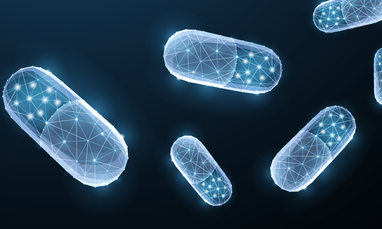 Floating pills on navy background