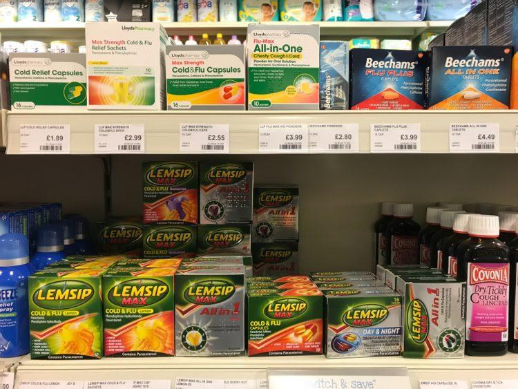 Paracetamol shelf in UK - drug supply