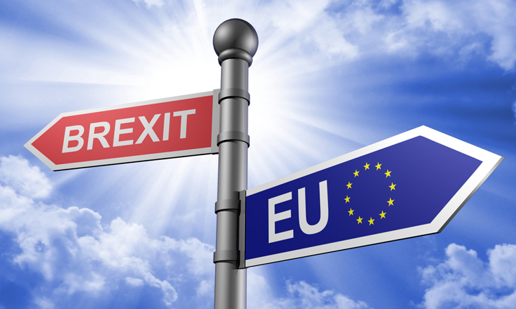 Signpost pointing in opposite directions to Brexit and the EU